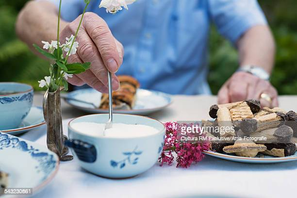 cropped image of senior man taking sugar from bowl at garden tea table - sugar bowl crockery stock photos and pictures