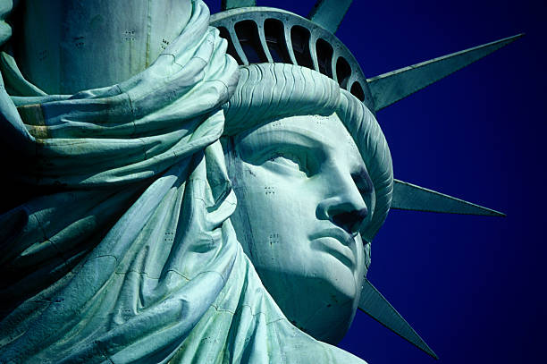 Cropped Image Of Statue Of Liberty Against Clear Blue Sky Wall Art