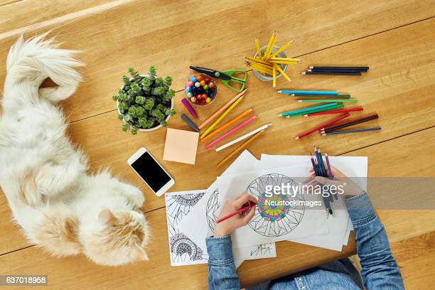 cropped image of woman coloring design by cat on table - colouring stock pictures, royalty-free photos & images