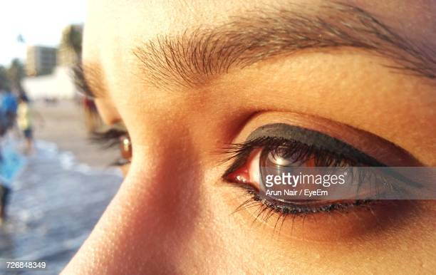 Cropped Image Of Woman Eyes Looking Away