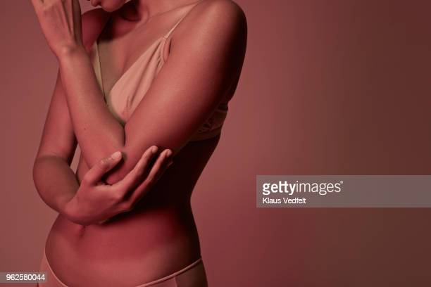 cropped image of woman having elbow pains - human body part stock pictures, royalty-free photos & images