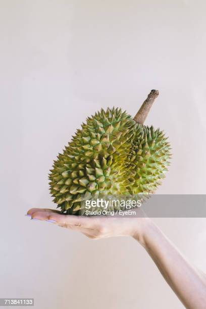 Cropped Image Of Woman Holding Durian Against White Background