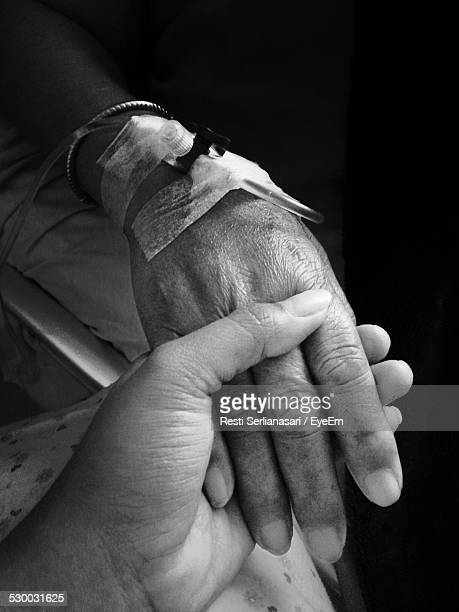 cropped image of woman holding grandmother hand with iv infusion - iv infusion stock photos and pictures