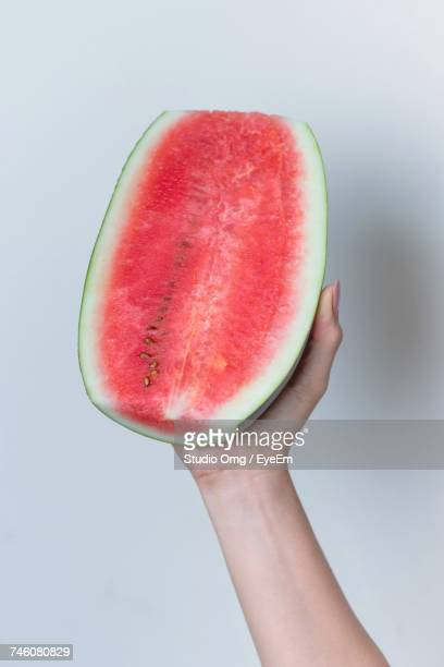 Cropped Image Of Woman Holding Watermelon
