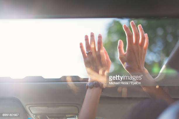 Cropped Image Of Woman With Arms Raised In Car