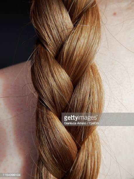 cropped image of woman with braided hair - braided hair stock pictures, royalty-free photos & images