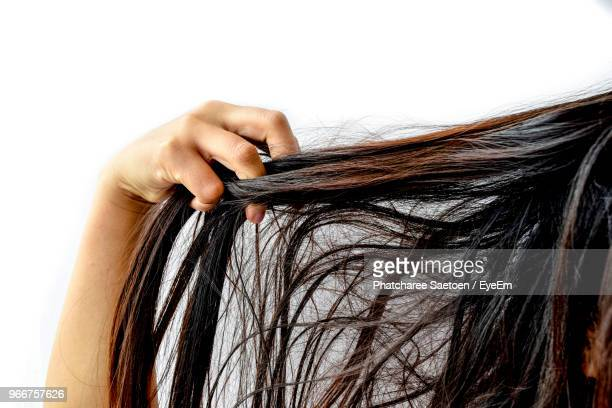 cropped image of woman with tangled hair against white background - bad hair stock pictures, royalty-free photos & images