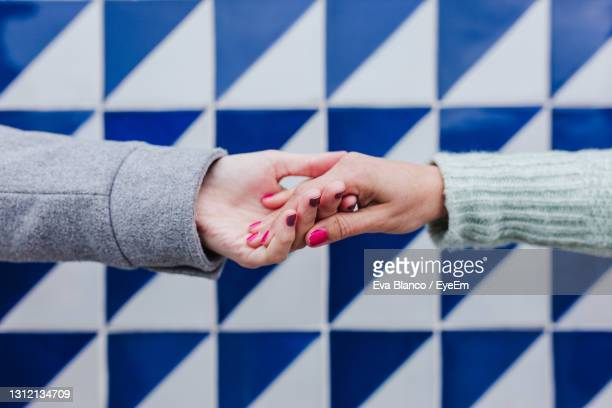 cropped image of women holding hands outdoors - バイセクシャル ストックフォトと画像