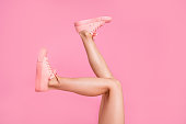 Cropped image view photo of nice attractive feminine girlish long fit slim thin shaven legs active sport walk go funny steps comfort zone isolated over pink pastel background