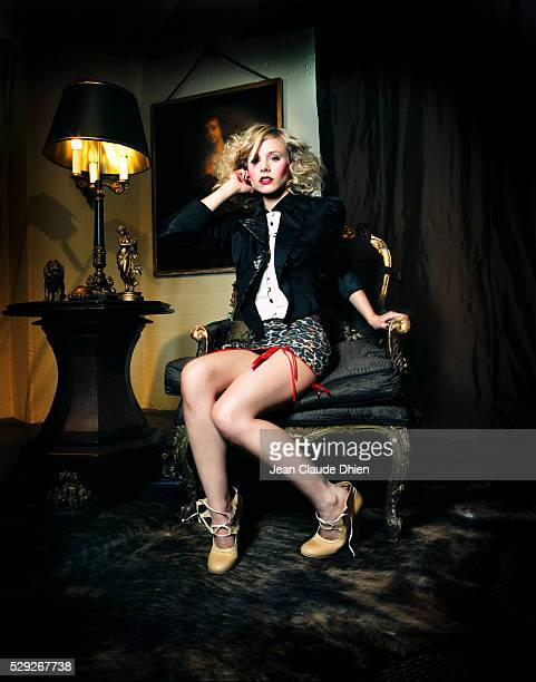 Cropped satin jacket and shoes by Jennifer Nicholson leopard roll on with garter by Agent Provocateur