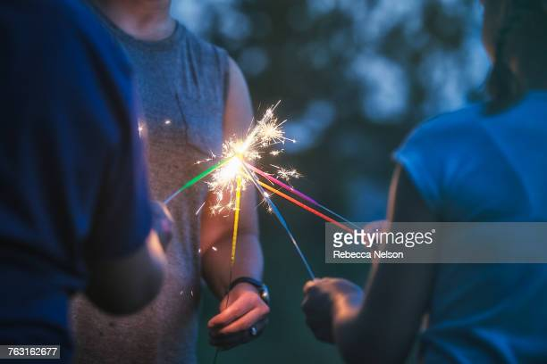 cropped shot of women and girl igniting sparklers together at dusk on independence day, usa - harmonie stockfoto's en -beelden