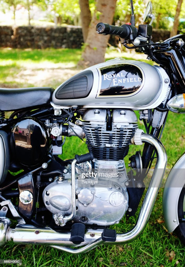 Cropped side-view of Royal Enfield Classic 500 motorcycle