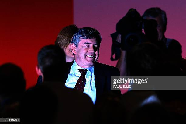 Cropped Version Former British Prime Minister Gordon Brown leaves after making his final speech before the new leader of Britain's opposition Labour...