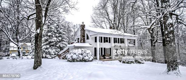 Cropped version of Vintage old house in fresh snow