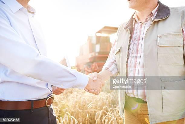 cropped view of farmer and businessman in wheat field shaking hands - dar cartas imagens e fotografias de stock