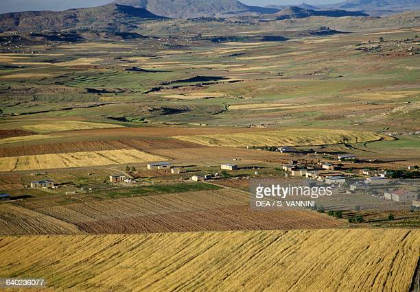 Crops and a village aerial view Leribe District Lesotho