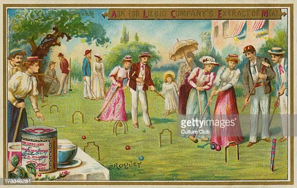 A croquet game Liebig card English sports 1895