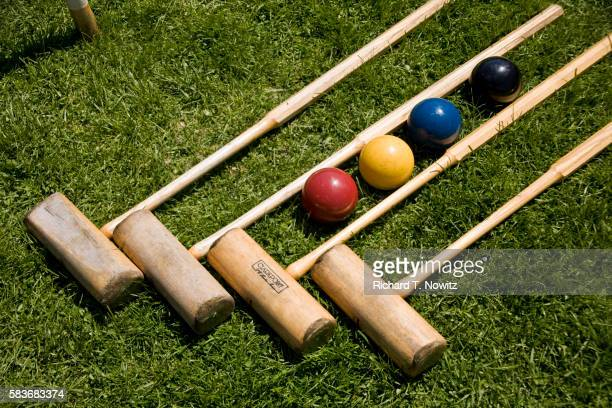 Croquet mallets and balls on lawn on Mackinac Island
