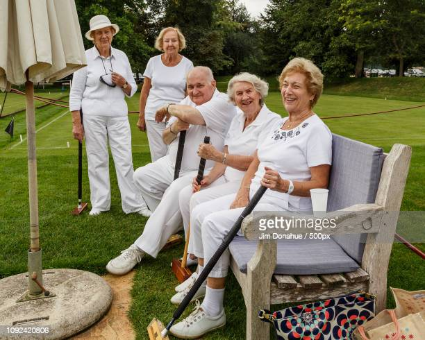 croquet players at phyllis court club, henley - jim donahue stock pictures, royalty-free photos & images