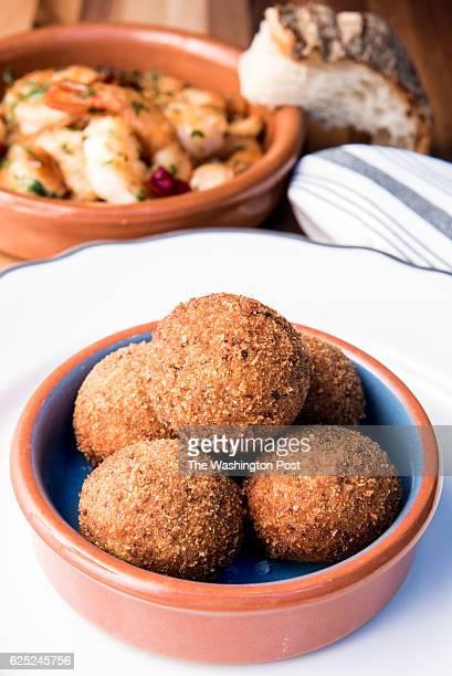 Croquetas De Setas mushroom croquettes with Gambas Al Ajillo at TapaBar