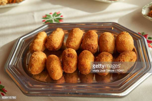 Croquettes on tray