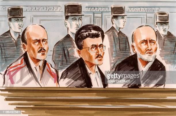 - Croquis d'audience daté du 02 novembre 1994 dans le box des accusés de la cour d'assises spéciale de Paris, d'Ali Vakili Rad, Zeynal Abedine...