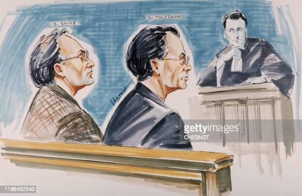 Croquis d'audience datant du 31 octobre 1990 montrant Bernard Sainz et le docteur Jacob Toledano accusés d'un trafic de produits dopants à...
