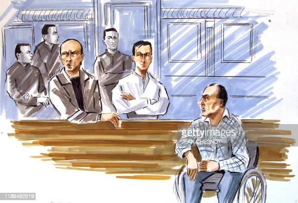 Croquis d'audience des trois chefs historiques du mouvement séparatiste basque Iparretarrak , Philippe Bidart, Gabriel Mouesca et Joseph Etcheveste ,...