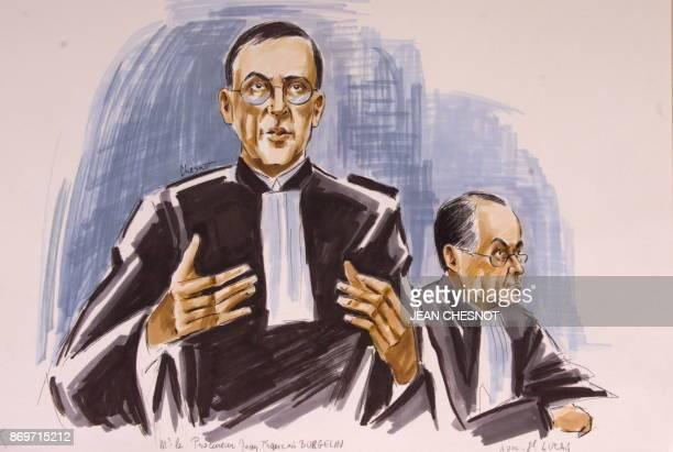 Croquis d'audience montrant le procureur général Jean-François Burgelin et de l'avocat général Lucas, le 24 février devant la Cour de justice de la...