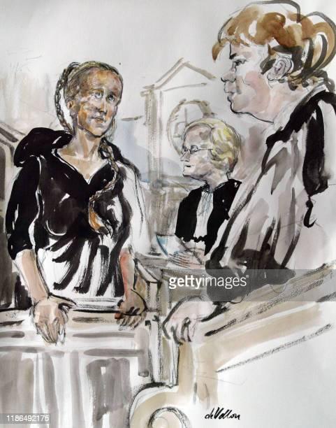 croquis d'audience réalisé le 23 octobre 2003 au tribunal correctionnel de Paris représentant la Britannique Margaret Mc Donald à la barre lors de...