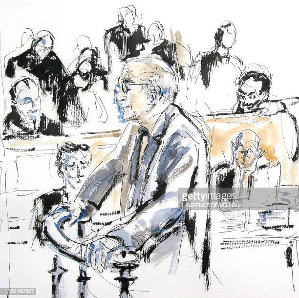 croquis représentant le directeuradjoint de la DST JeanFrançois Clair s'exprimant à la barre le 08 octobre 2002 au Palais de Justice de Paris devant...