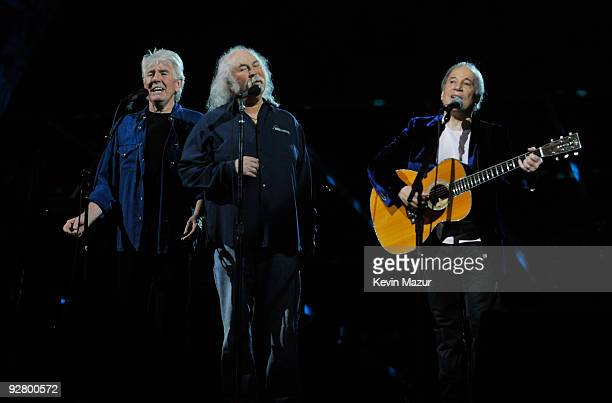 Crosby Stills and Nash and Paul Simon performs on stage for the 25th Anniversary Rock Roll Hall of Fame Concert at Madison Square Garden on October...