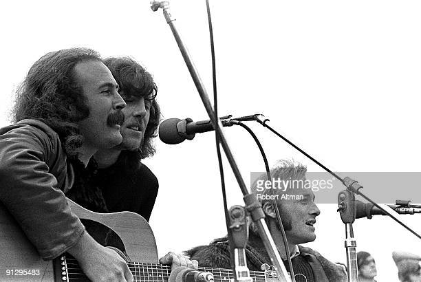 Crosby Stills and Nash and Young perform onstage at the Big Sur Folk Festival held at the Esalen Institue on September 15 1969 in Big Sur California