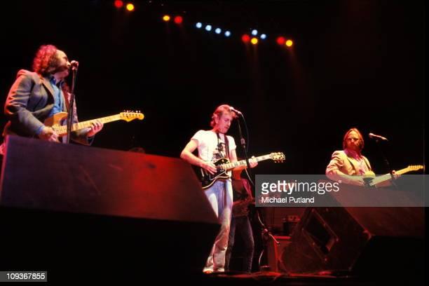 Crosby Stills And Nash perform on stage London July 1983 LR David Crosby Graham Nash Stephen Stills