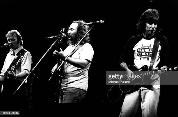 Crosby Stills And Nash perform on stage New York 22nd July 1977 LR Stephen Stills David CrosbyGraham Nash