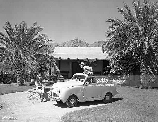 Crosley 1948 convertible car at desert resort