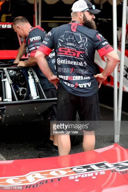 Crosley crew prepares super trucks before the free practice session of the Music City Grand Prix at Nissan Stadium on August 06, 2021 in Nashville,...