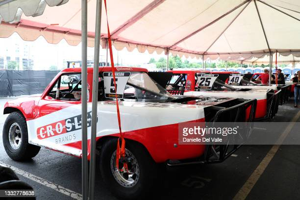 Crosley super trucks seen during the free practice session of the Music City Grand Prix at Nissan Stadium on August 06, 2021 in Nashville, Tennessee.