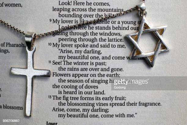 Cross and star of David over Old Testament