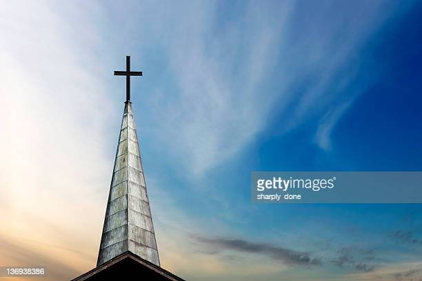 xxl cross and steeple - church stock pictures, royalty-free photos & images