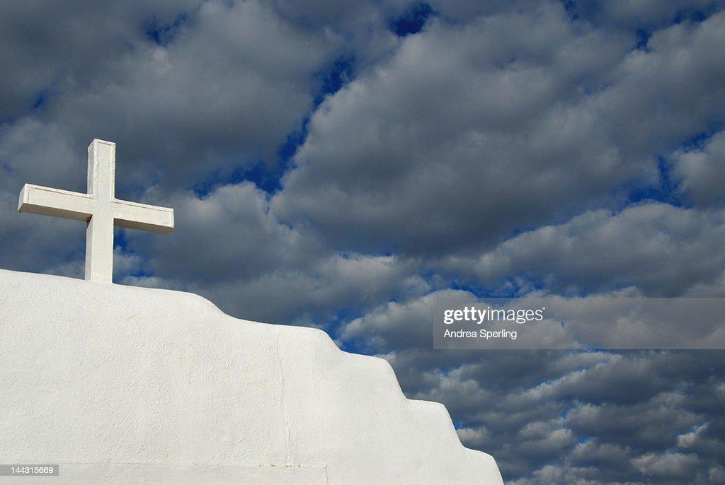 Cross at Taos Pueblo Church : Stock Photo