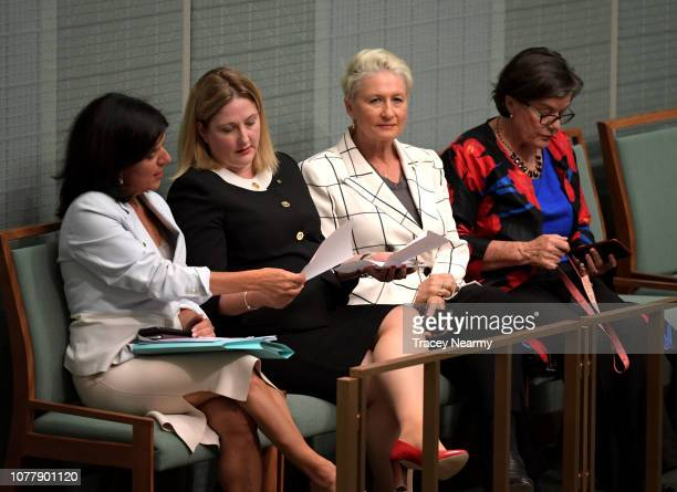 Cross benchers Member for Chisholm Julia Banks the Member for Mayo Rebekha Sharkie the Member for Wentworth Kerryn Phelps and the Member for Indi...