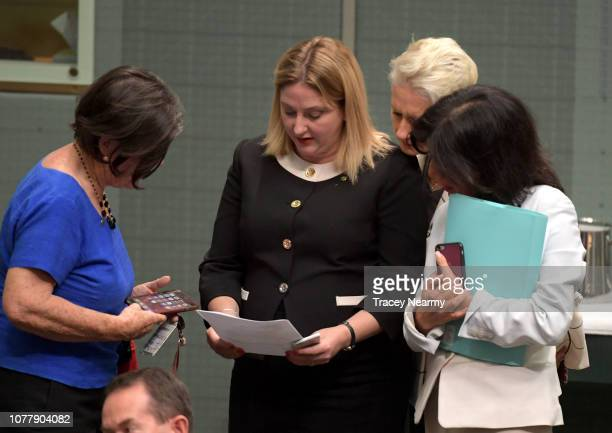 Cross benchers Member for Indi Cathy McGowan the Member for Mayo Rebekha Sharkie the Member for Wentworth Kerryn Phelps and Member for Chisholm Julia...