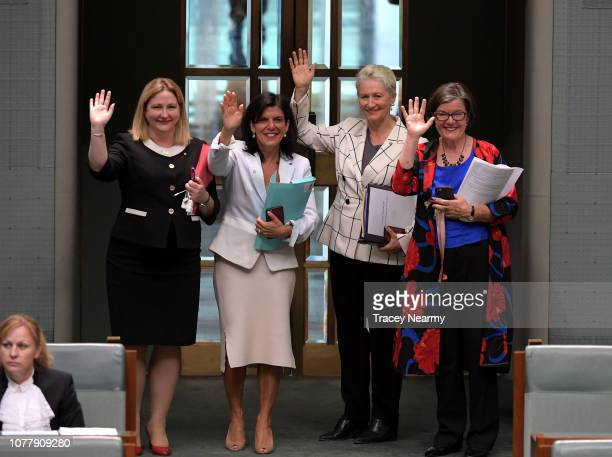 Cross benchers the Member for Mayo Rebekha Sharkie Member for Chisholm Julia Banks the Member for Wentworth Kerryn Phelps wave and bow as they leave...