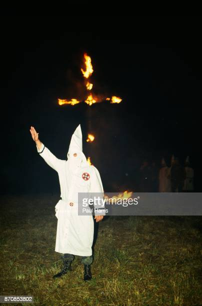 A cross burning after a Ku Klux Klan march May 4 Stone Mountain Georgia