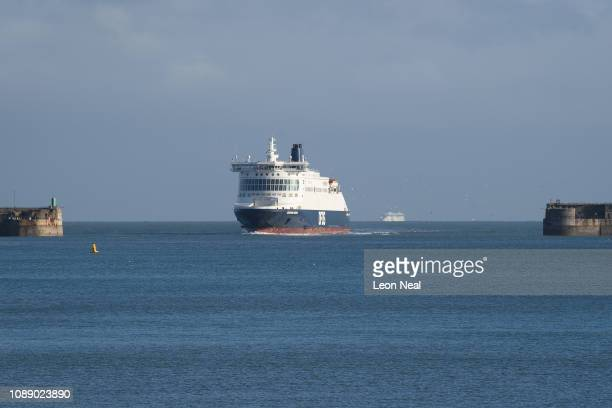 A cross channel ferry arrives into Dover ferry port on January 02 2019 in Dover England Following a number of small vessels carrying migrants...