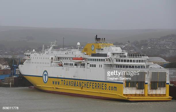 A cross channel ferry moored up in Newhaven harbour on February 8 2016 in Newhaven East Sussex Storm Imogen is the ninth named storm to hit the UK...