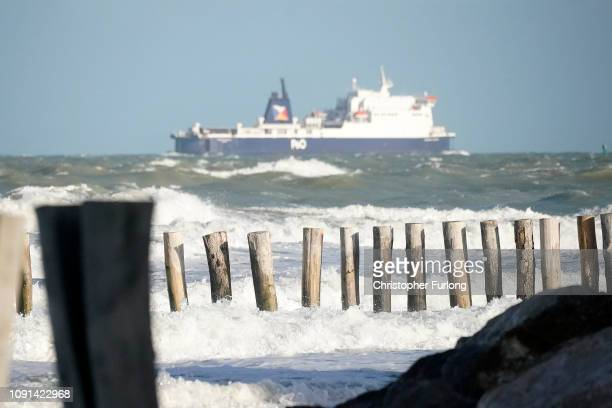 A cross channel ferry passes the beach at Sangatte where it is believed that migrants could launch boats to cross the English Channel on January 08...