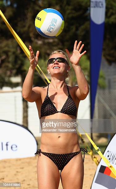 Cross Country athlete Miriam Goessner plays beach volleyball during the 'Champion des Jahres' event week at the Robinson Club Quinta da Ria on...