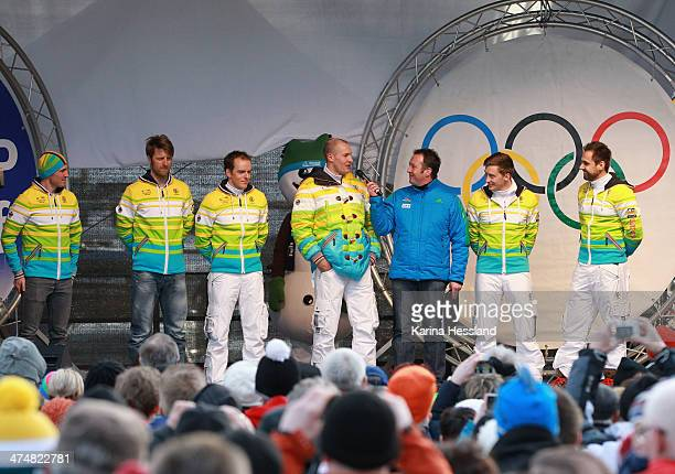 Cross country Athlets Thomas Bing Axel Teichmann Jens Filbrich Luger David Moeller Sascha Benecken and Andi Langenhan are seen on stage at the...